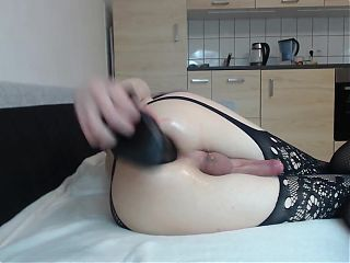 tranny sissy fuck huge monster dildo closeup