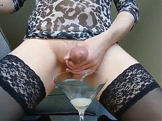 Blonde cums in wine glass and drinks it all down