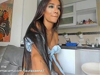 Busty tranny masturbating alone on webcam