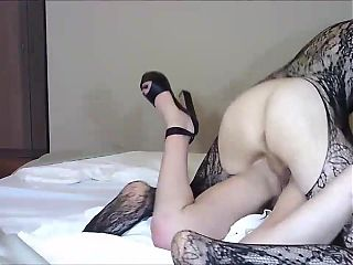 Blond heshe in fishnets destroys her gfs pussy